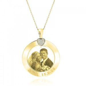 Round Necklace with Picture and Heart