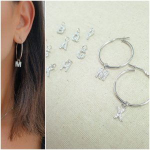 Hoop Earrings with Studded Initial